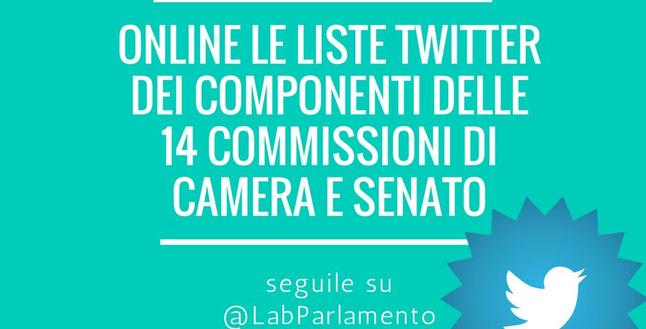 Liste twitter delle quattordici commissioni di camera e for Camera dei deputati e senato