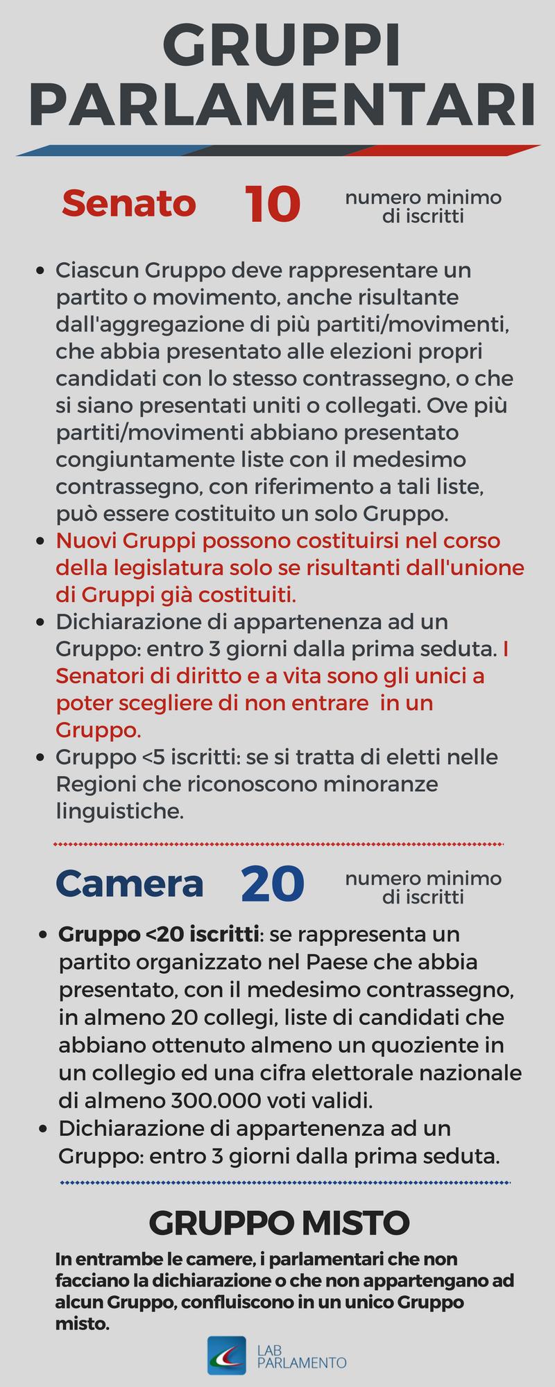 Infografica gruppi parlamentari